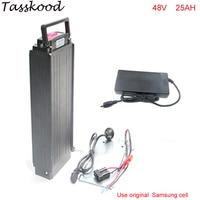 48V 1000W E bike Rear Carrier Battery use Samsung Cell 48V 25AH eBike Li ion Battery with Slim Aluminium Case+Charger