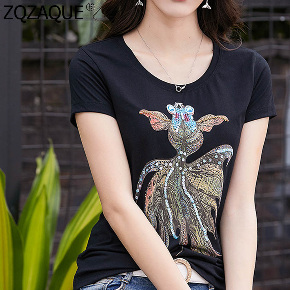 Summer Fall New Hot O Neck T-Shirts Sequins Decor Goldfish Women Girls Casual Bottom Pullover Tops 4XL Plus Size Loose Slim Tees