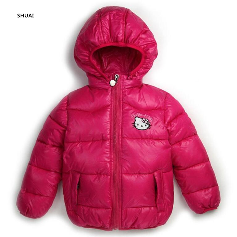 078cbba93 New Winter Girls Jacket Hello Kitty Cartoon Coat Cotton Padded ...