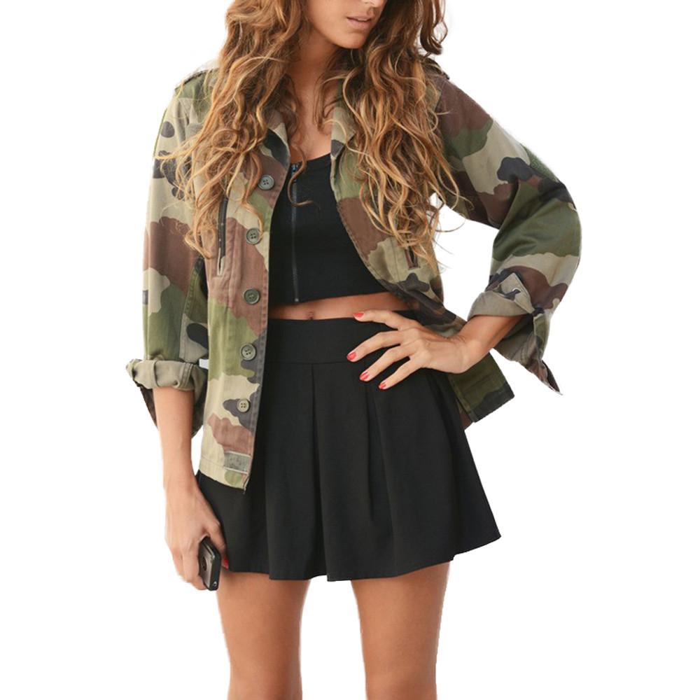 Female Jacket Blouses Coats Outwear Spring Vintage Army Green Women Camouflage Wholesale title=