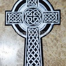 """Горячая распродажа!~ Кельтский крест ирландская христианская религиозная Подвеска """"Иисус"""" вышитая железная нашивка, ПРИШИТАЯ нашивка, изготовленная из ткани, качество"""