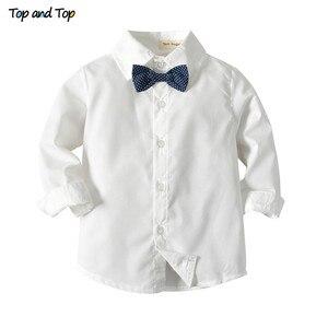 Image 4 - עליון ועליון חורף ילדי בגדי אדון בני ביגוד סט חולצה + אפוד + מכנסיים ולקשור מסיבת תינוק בני בגדי 3 יח\סט