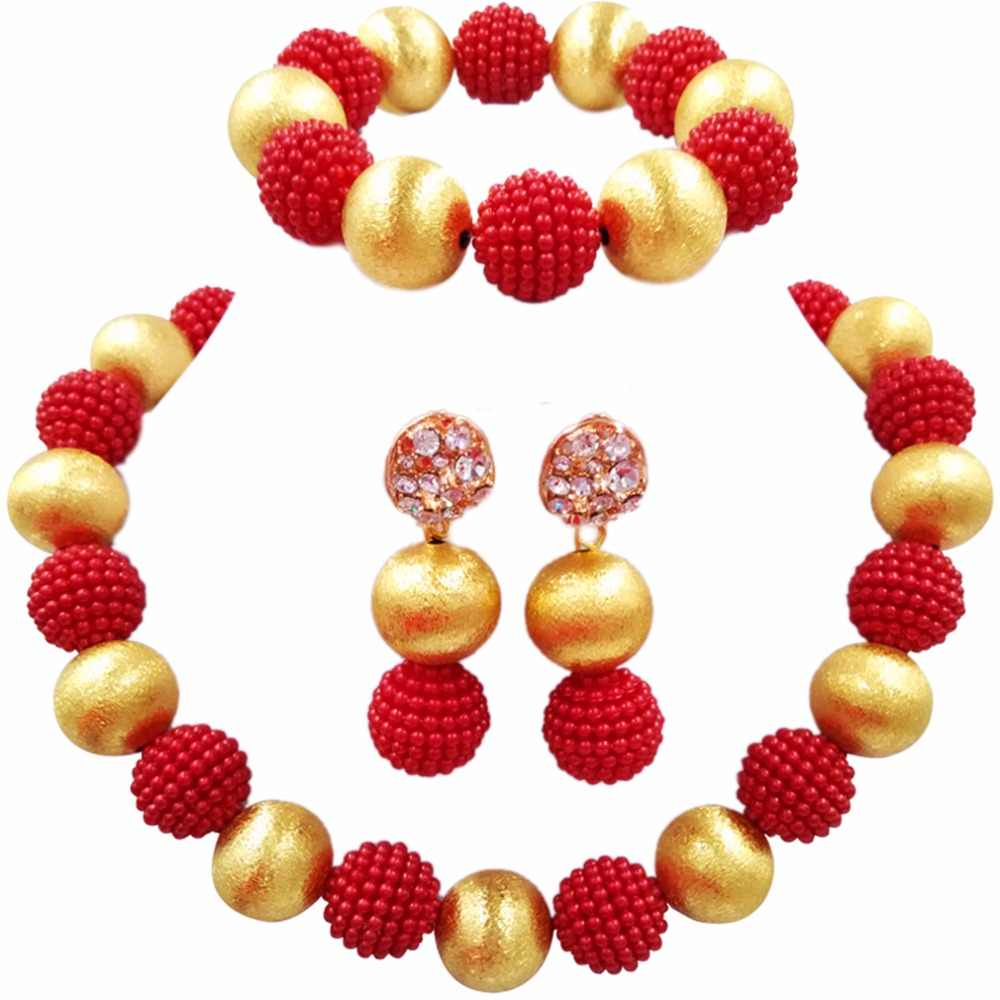 Red Nigerian Beads African Jewelry Set for Women Simulated Pearl Necklace and Earrings 1ZQLS15