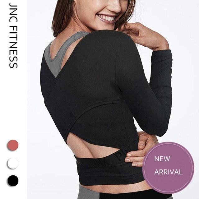 de20900e593b7a JNC Open back yoga shirts long sleeves workout tops for women backless gym  crop top sexy