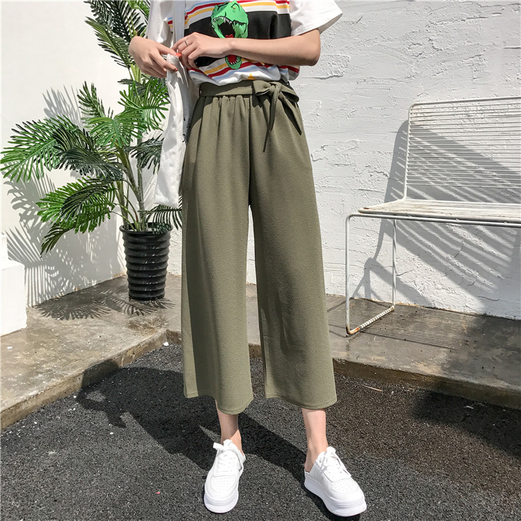 19 Women Casual Loose Wide Leg Pant Womens Elegant Fashion Preppy Style Trousers Female Pure Color Females New Palazzo Pants 20