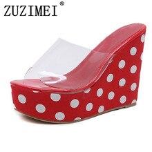 Mulheres PVC Geléia Sapatos Transparentes Cunhas Plataforma Sandálias de  verão Moda PalkaDot Bombas de Sandálias de 12cbd453d45b