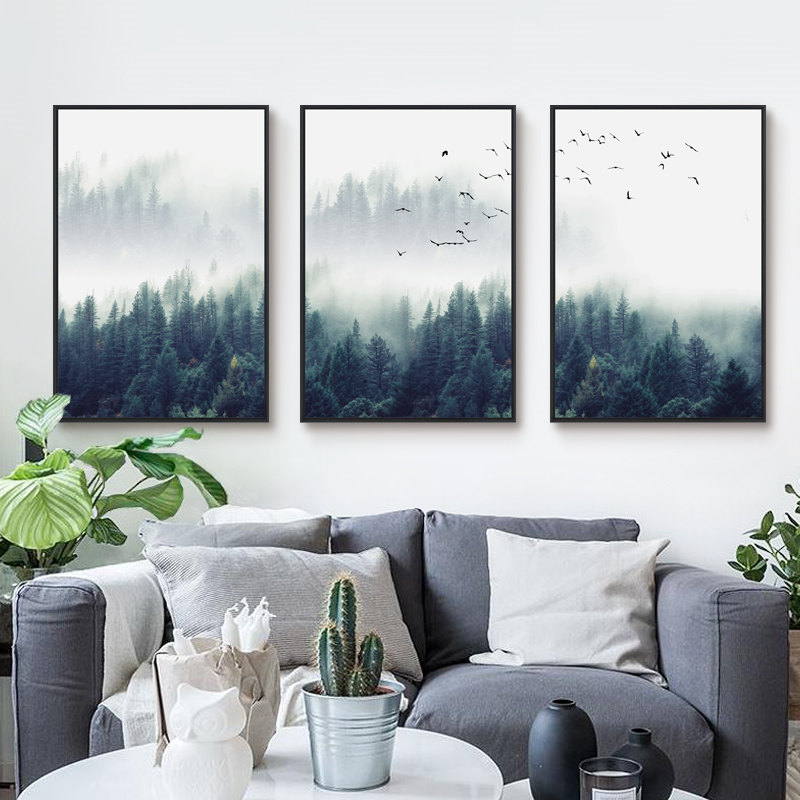 Nordic Natural Scenery Forest Tree Lanscape Poster Green Plant Canvas Painting Scandinavian Decor Living Room Home Wall Picture