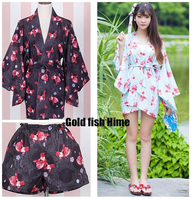 94e81aa5e4e0 Poisson rouge Princesse Hime Mignon femme Japonais Kimono Yukata Trench    Short et Ceinture de Mode