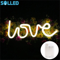 SOLLED LOVE Letters Shape LED Night Light Wall Hanging Neon Light For Festival Party Wedding Decor