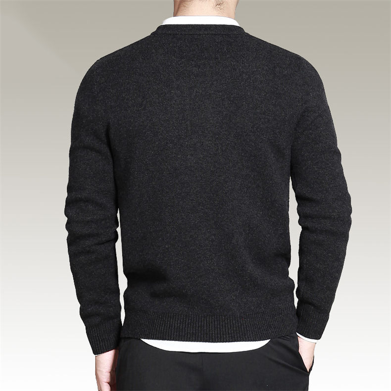 Dropshipping Sweater Men Pullover Merino Wool O Neck Men Sweater Jumper Spring Autumn Winter Warm Woolen Male knitwear Navy 3XL02