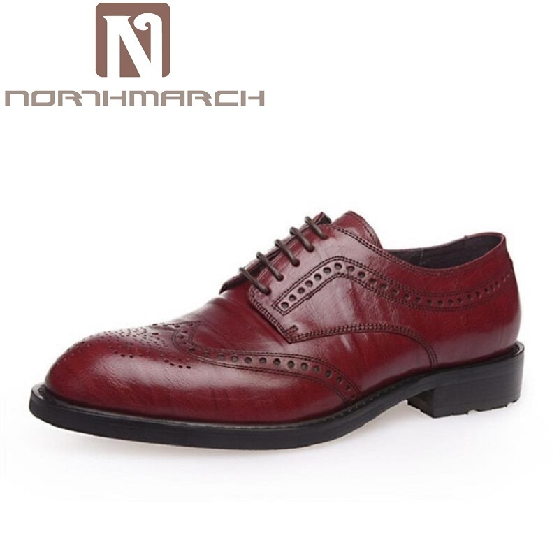 NORTHMARCH New 2018 Luxury Leather Brogue Mens Flats Shoes Casual British Style Men Oxfords Vintage Brand Dress Shoes For Men 2016 luxury mens goodyear welted oxfords shoes vintage boss brogue shoes italian mens dress shoes elegant mens gents shoes derby