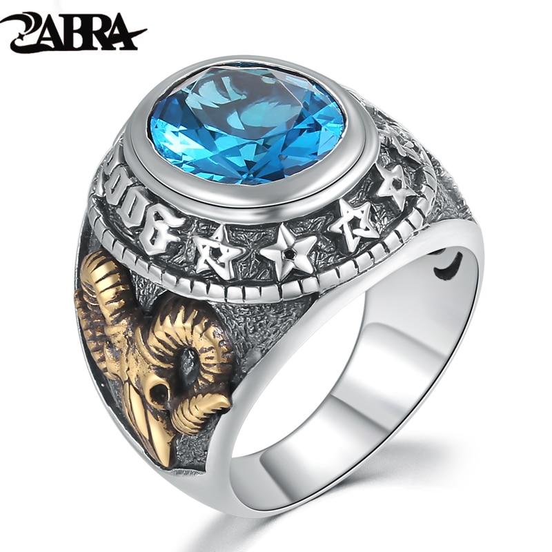 ZABRA 925 Silver Blue Zircon Men Ring Vintage Stone Punk Rock Gold Sheep Head Thai Handmade