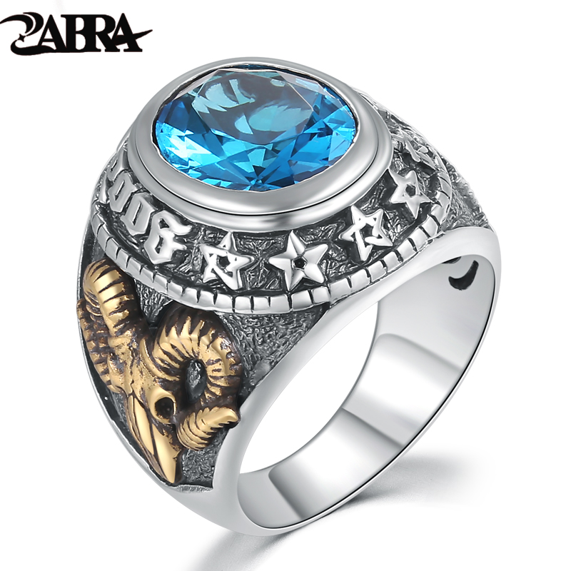 ZABRA 925 Silver Blue Zircon Men Ring Vintage Stone Punk Rock Gold Sheep Head Thai Handmade Women Rings Joyería de plata esterlina