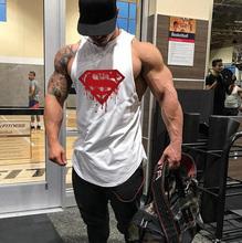 Superman męska szybkie suche zbiornik topy kamizelka do biegania Fitness bez rękawów podkoszulki męskie siłownia Tank Top mężczyźni luźne kamizelka sportowa Plus rozmiar tanie tanio FITNESS SHARK Wiosna Jesień Lato Pasuje prawda na wymiar weź swój normalny rozmiar COTTON O-neck Sleeveless t shirts