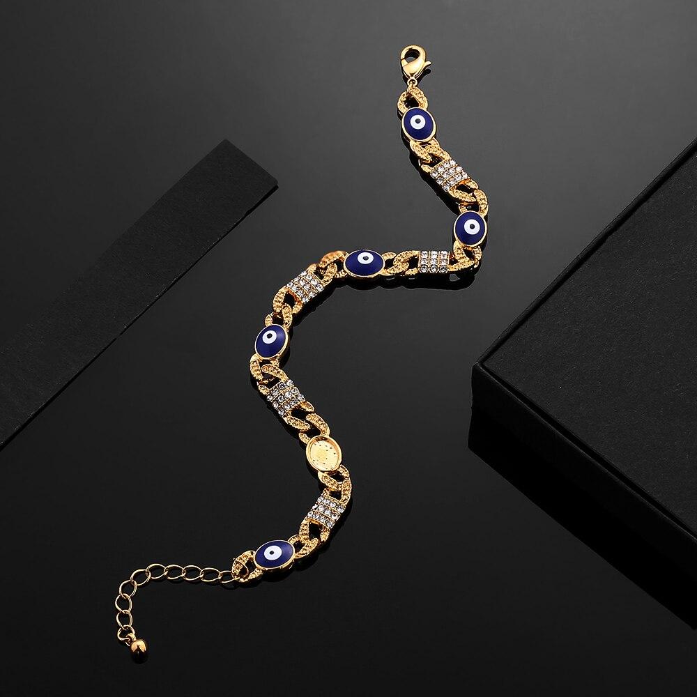 Wholesale  Arabic Jewelry Blue Devil's Eye Bracelet Great Gifts18K Gold Color Muslim Islamic Charm Bracelets for Women