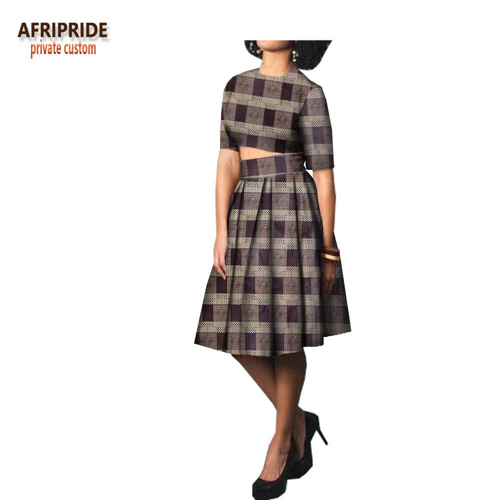 2018 nouvelle jupe décontractée ensemble pour les femmes AFRIPRIDE demi manches o-cou haut court + genou-longueur jupe printemps cire coton femmes setA1826010