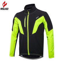 ARSUXEO Reflective Thermal Fleece Men's Long Autumn Winter Cycling Jacket Windproof Bike Bicycle Sports Coat Clothes Ciclismo santic winter fleece thermal cycling jacket men road mountain bike jacket windproof bicycle wind coat chaqueta ropa ciclismo