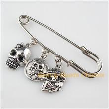 Tybetański srebrny kolor agrafka broszka 3-czaszka Halloween Charms Handmade tanie tanio Ze stopu cynku Broszki Angel Moda Unisex Klasyczny Metal