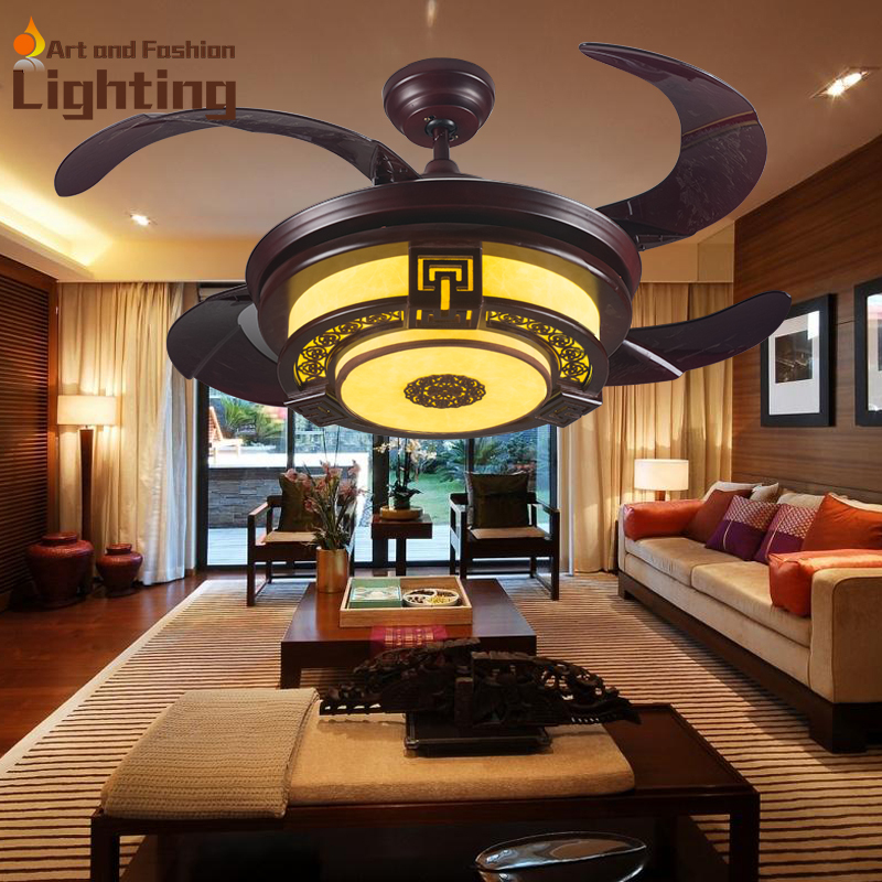 New Chinese Ceiling Fan Light 4 Invisible Acrylic Blades
