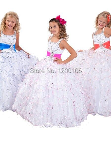 38a1e1d32 2014 nuevo vestido de bola con gradas palabra de longitud Rhinestone  princesa Girls vestidos del desfile