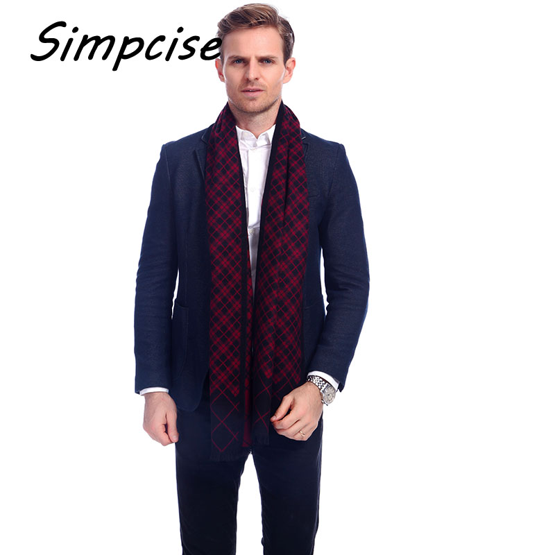 simpcise Winter Men Scarves For Plaid Male Shawl