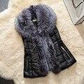 Gola de Pele de moda Colete De Pele do Inverno Para A Mulher Sem Mangas de Algodão dos Retalhos Das Senhoras Elegantes Mulheres Jaqueta Chaleco De Invierno