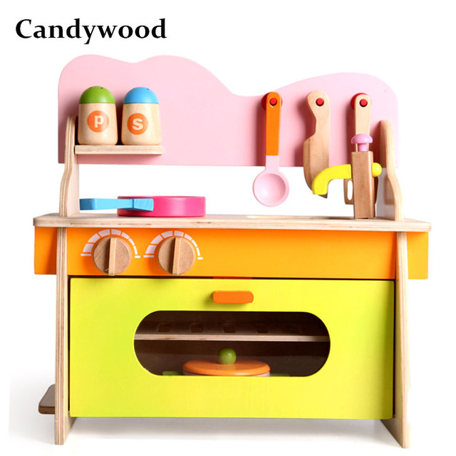 Candywood Mother Garden Baby Kids Wood Kitchen Cooking Toys Wooden  Kitchenette Gas Stove Educational Toys For