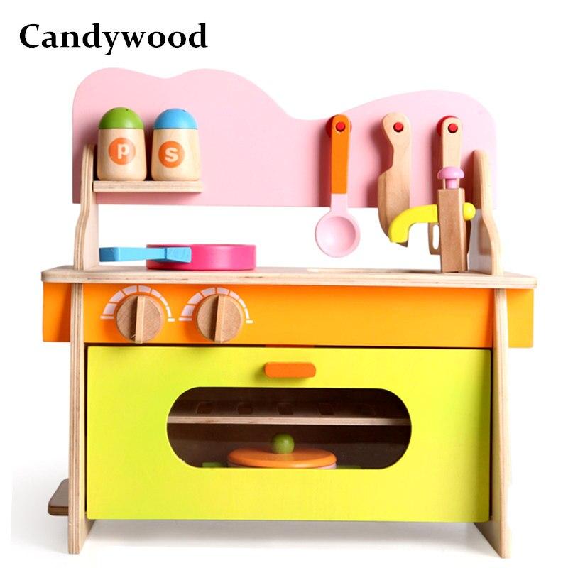 Candywood mère jardin bébé enfants bois cuisine cuisine jouets en bois kitchenette cuisinière à gaz jouets éducatifs pour fille cadeau