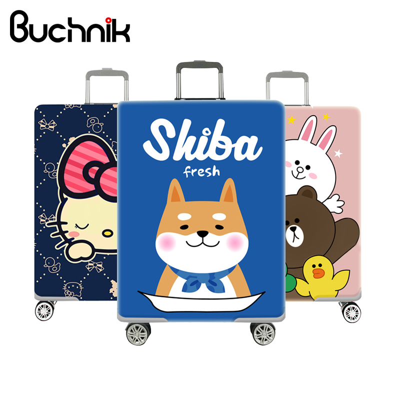 Cartoon Suitcase Protector Cover Thicken Print Hello Kitty Dog Bear Pattern Elastic Luggage Case For 18-32 inch Accessories