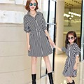 2016 New 40%OFF Sale White  Striped Cotton Long Sleeve Knee-Length Matching Mother Daughter Dresses Clothes Family Clothing Look