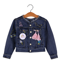 цена 2019 Spring Girls Denim Jackets Cartoon Tassel Fashion Coat for Baby Girl Jeans Blue Autumn Children Clothes Kids Girl Outerwear онлайн в 2017 году