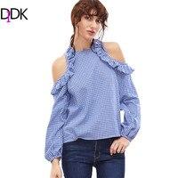 DIDK Female Ladies Casual Shirt Tops Woman S Fashion 2017 Tops Blue Gingham Ruffle Open Shoulder