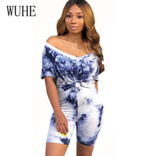 WUHE Plus Size XXL Two Pieces Sets Vintage Printed Jumpsuits Summer Short Sleeve O Neck Casual Playsuits Women High Streetwear