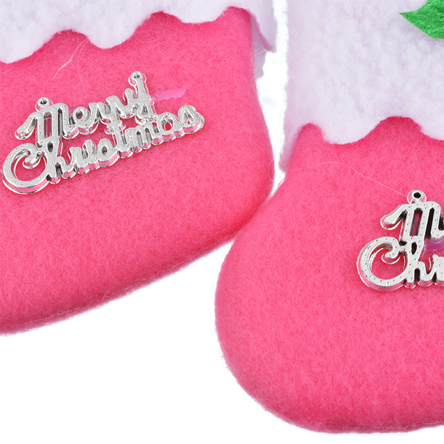 6pcs 2017 new mini pink christmas stocking dinnerware cover xmas tree ornaments merry christmas party supplies kids gift bags