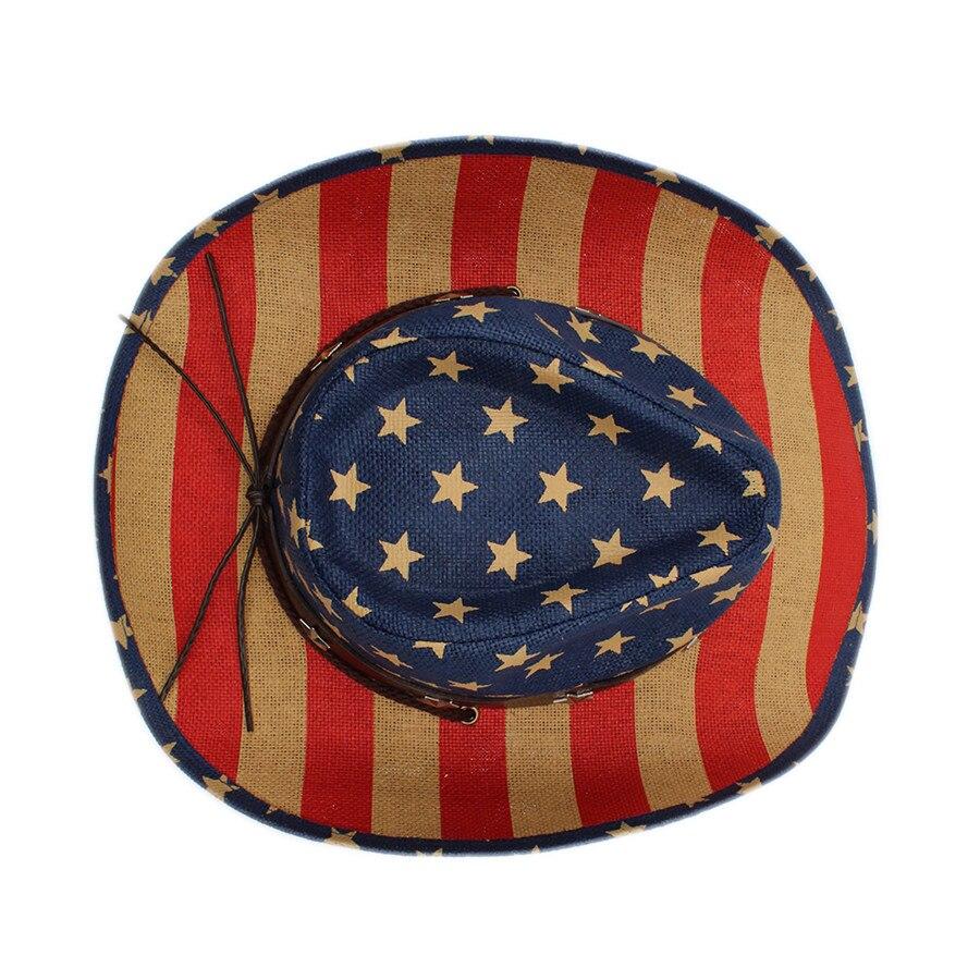 Verano mujeres hombres hueco sombrero de vaquero occidental Caballero  vaquera Jazz ecuestre gorra sombrero playa Sol sombrero bandera americana  en Sombreros ... 1ec0cb9b78ff