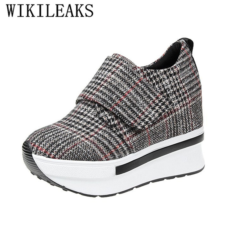 2019 Spring Autumn Women Platform Sneakers Plaid Canvas Shoes Height Increasing Casual Shoes Woman Wedges Trainers Tenis Feminin