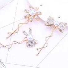 pearl hair clips for women wedding accessories rabbit bow pins rhinestone clip jewelry flower tiara barette perle