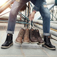 2019 New Brand High Top ankle Retro Male military boots leather work motorcyle Shoes Mens army boots Casual martin boots OO 37Z
