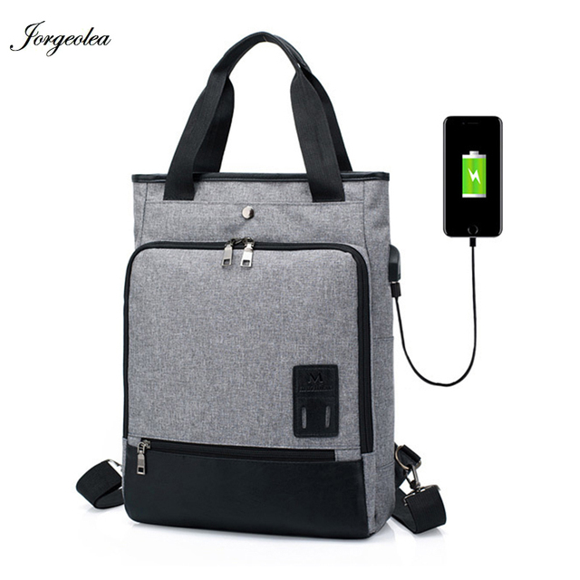 Jorgeolea Multi-function USB Charging Handbags For Women and Men Leisure Shoulders Satchel Business Labtop Bag Student Bags 0118