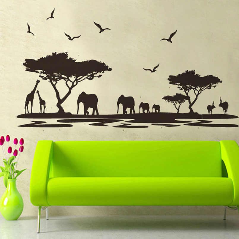 INKANEARE Natural Elephant Tree Bird Black Fashion Animal Sticker Living Room Bedroom Background Wall Sticker Removable