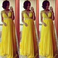 Charming Yellow Pregnant Women Long Evening Dress 2017 V Neck Short Sleeve Beaded Crystal Formal Gowns