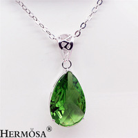 2016 Fashion Jewelry Women Pendants 925 Sterling Silver Jewelry Green Topaz Ladies Necklace Pendant Jewellery Accessories