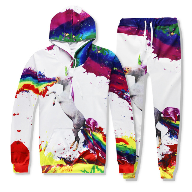a9bf7aced484e US $16.79 30% OFF|New Funny Rainbow Unicorn Printed Hoodies 3D tracksuits  Men Womens Sets Unisex tracksuit casual Hoodies+joggers pants Hot sale-in  ...