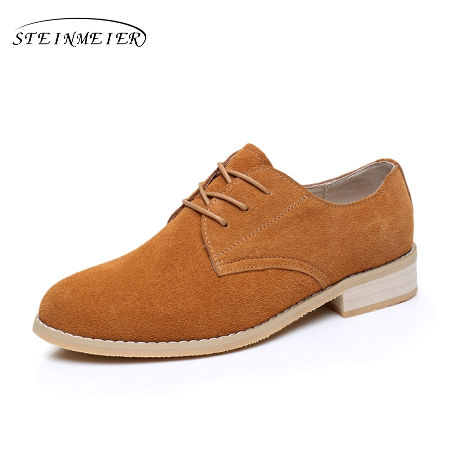 Cow suede oxford shoes for woman handmade flats brown vintage big US 10 British style oxfords