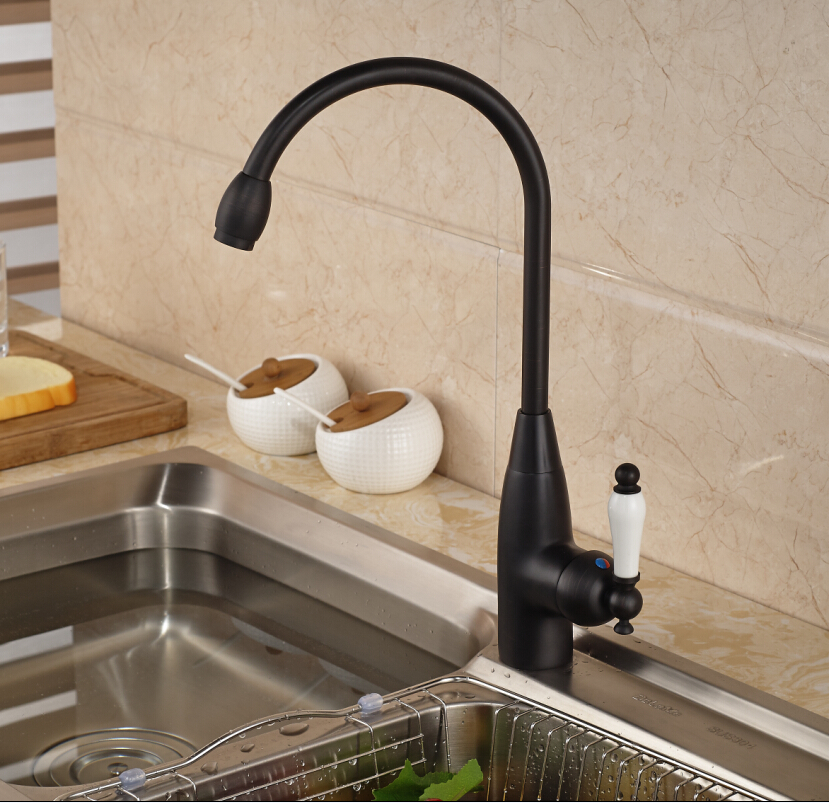 ФОТО Single Ceramic Handle Kitchen Mixer Faucet Deck Mount Rotation Goose Neck Kitchen Hot and Cold Water Taps