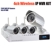 Wireless Nvr System Ip Camera Wifi NVR Kits 4ch Network Recorder 1080p Hdmi 4pc 720p 1mp