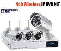Draadloze nvr kits 720 p ip camera wifi 4ch netwerk recorder met hdmi bullet outdoor voor thuis bewaking cctv systeem