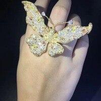 Коктейльное кольцо стерлингового серебра 925 пробы с фианит Бабочка Кольцо Гипербола регулируемый размер Модные женские ювелирные изделия