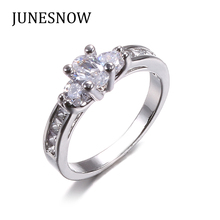 JUNESNOW 2017 New Fashion Design With Big Clear Cubic Zirconia Egg Shaped Engagement Ring ZY1010