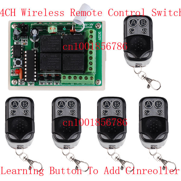 цена на DC12v 4CH Receiver & Transmitter FR Wireless Remote Control switch system with Multifunctional wireless Module